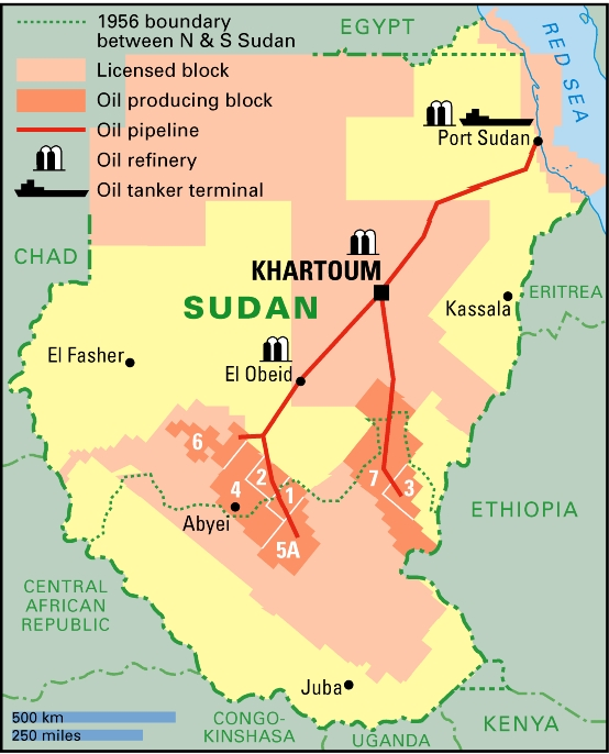 Conflict on oil between sudan and