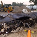Ruptured Enbridge Pipeline from Kalamazoo Spill credit NTSB