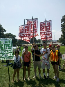 Students holding signs at Stop the Frack Attack