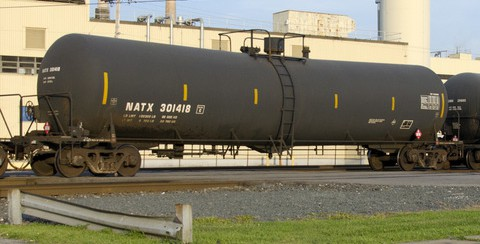 A DOT-111 tank car, which carries crude oil, ethanol, and other
