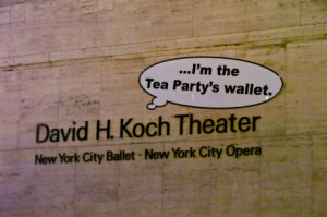 The New York City Ballet renamed its theater in honor of billionaire climate denier David H. Koch. Photo courtesy of The Other 98%.