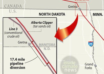 Enbridge's tar sands diversion across the U.S.-Canada border to avoid proper review of the Alberta Clipper expansion (image credit: Paul Horn, InsideClimate News)