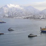 Coast Guard conducts overflight of Kulluk tow in Kiliuda Bay, Alaska