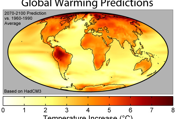 """""""Global Warming Predictions Map"""". Licensed under CC BY-SA 3.0 via Wikimedia Commons - https://commons.wikimedia.org/wiki/File:Global_Warming_Predictions_Map.jpg#/media/File:Global_Warming_Predictions_Map.jpg"""