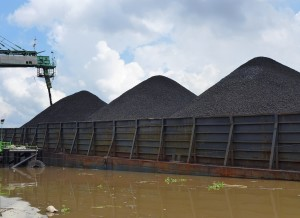 Coal being loaded onto a barge in East Kalimantan, Indonesia