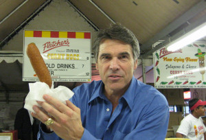 Rick Perry holding a corn dog