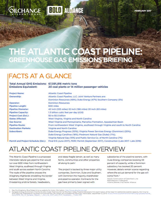 The Atlantic Coast Pipeline: Greenhouse Gas Emissions Briefing