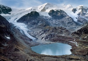 Stein Glacier, in part of the Swiss Alps, on Sept. 17, 2011. (James Balog and the Extreme Ice Survey/GSA Today/Geological Society of America)