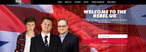 Screen-grab of Rebel UK website showing Tommy Robinson (middle) with Ezra Levant (right)