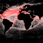 Global shipping rRoutes in red: http://spatial-analyst.net/worldmaps/shipping.rdc