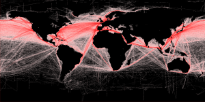 Global shipping routes in red. More here: http://spatial-analyst.net/worldmaps/shipping.rdc