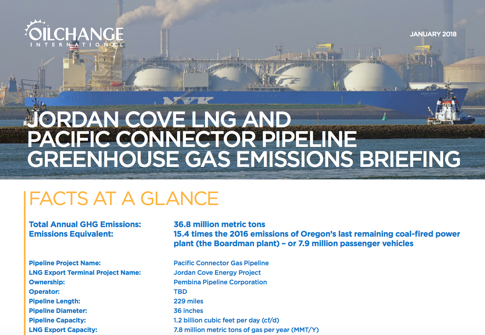 Release: First Comprehensive Climate Analysis of Jordan Cove LNG Project