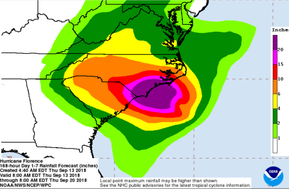 C: National Hurricane Center - predicted rainfall from Florence