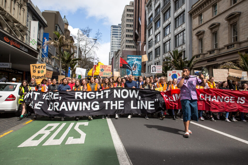 School Strike for Climate NZ marching behind Pasifika youth in Auckland, September 2019.