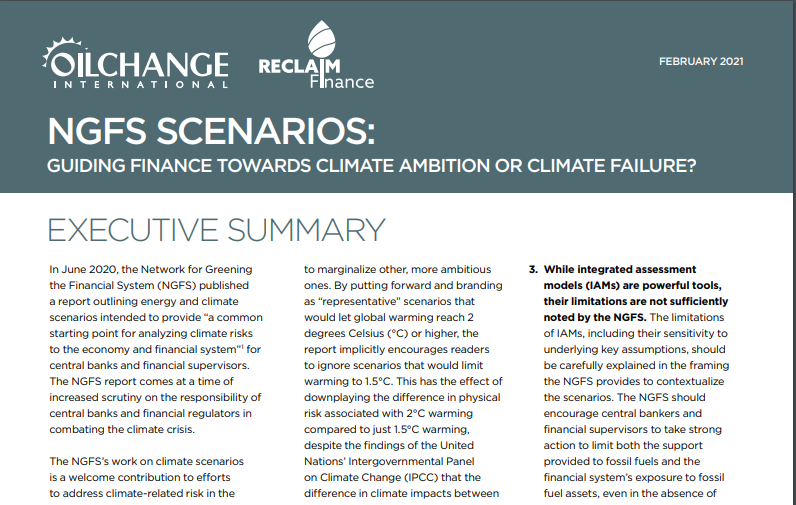 Report: the Network for Greening the Financial System (NGFS) must revise its climate scenarios to drive decarbonization in the financial sector