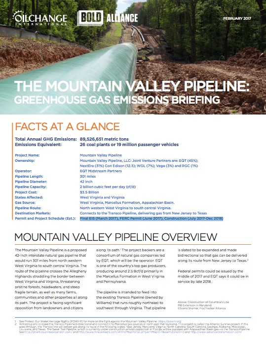 The Mountain Valley Pipeline: Greenhouse Gas Emissions Briefing