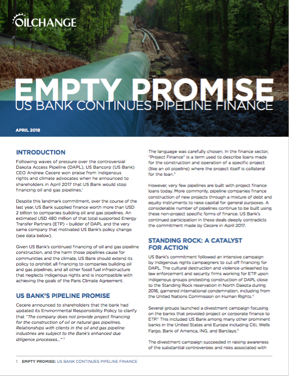 Empty Promise: US Bank Continues Pipeline Finance
