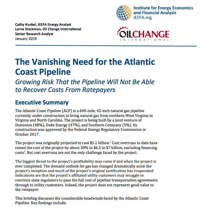 The Vanishing Need for the Atlantic Coast Pipeline