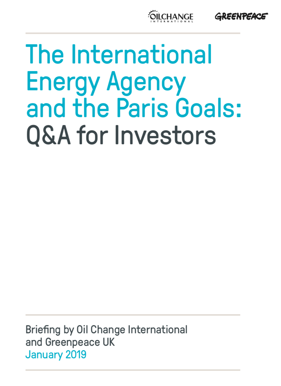 The International Energy Agency and the Paris Goals: Q&A for Investors