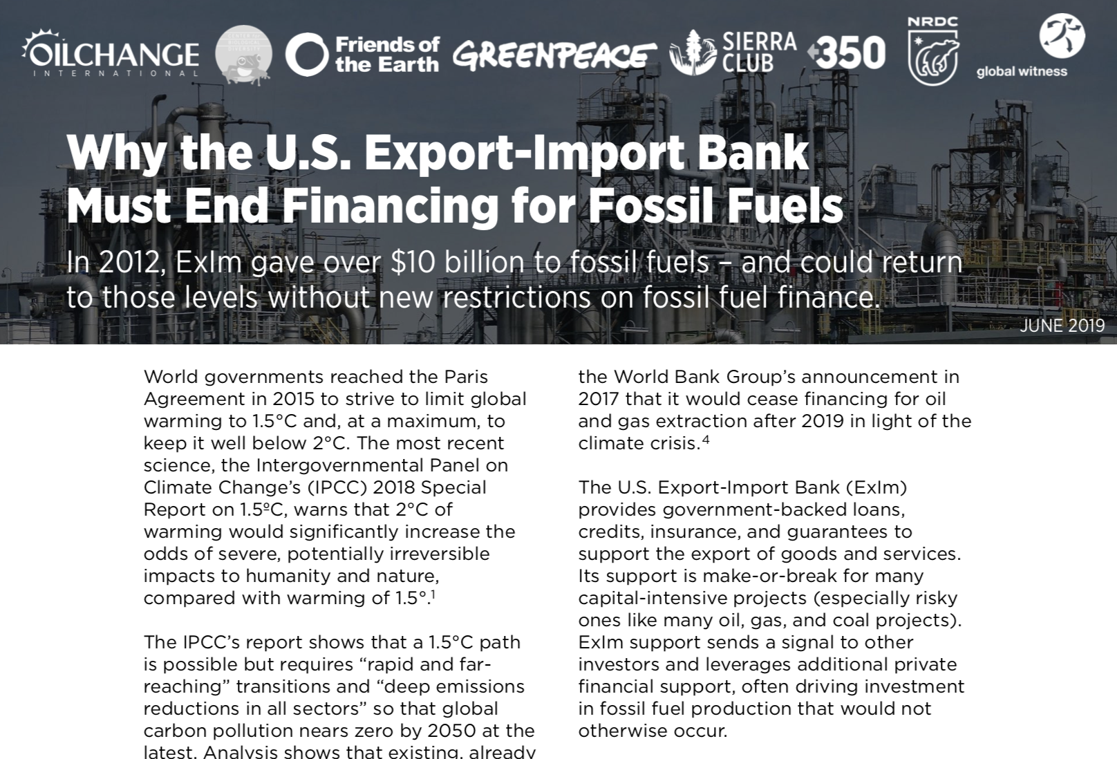 Briefing: Why the U.S. Export-Import Bank Must End Financing for Fossil Fuels