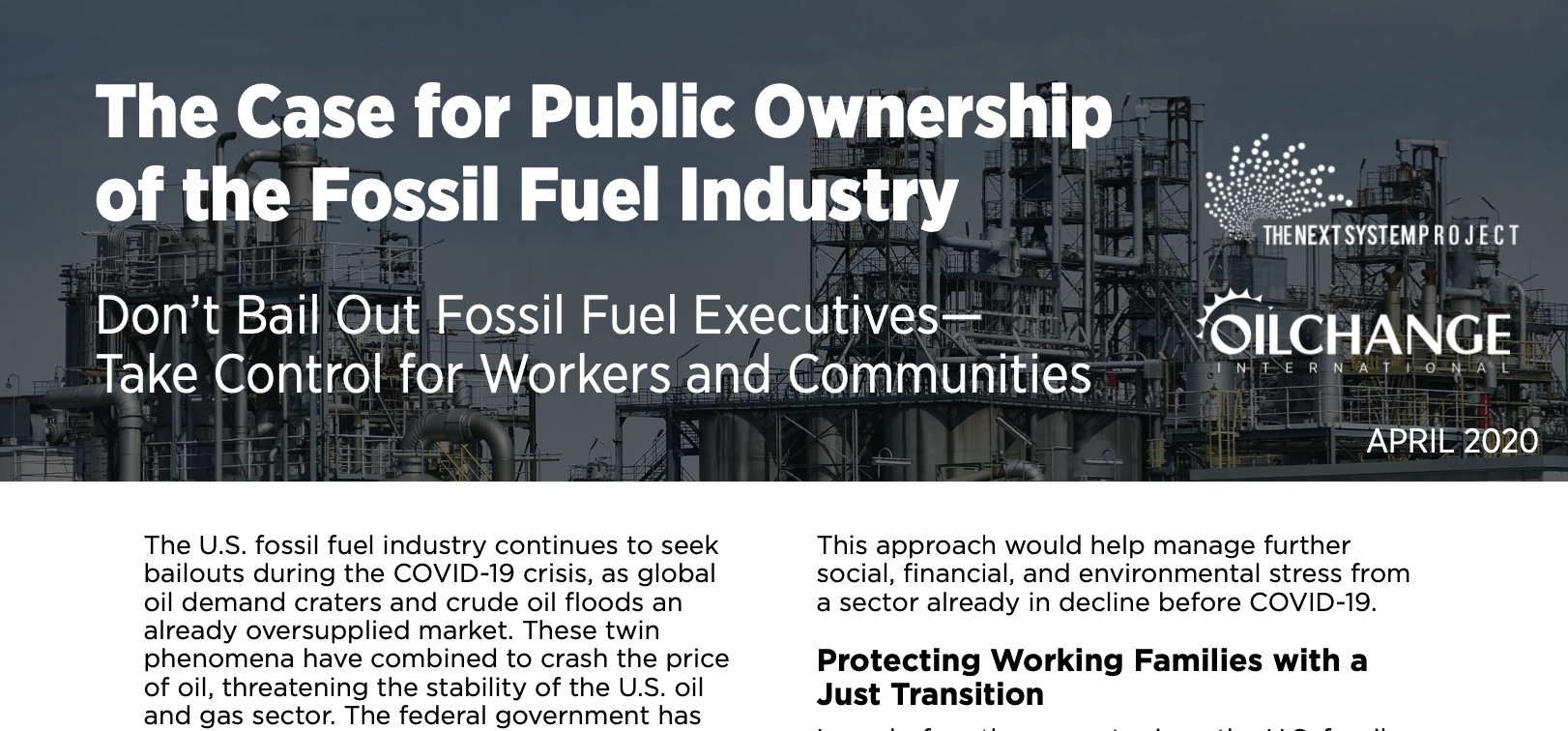 Discussion Paper: The Case for Public Ownership of the Fossil Fuel Industry
