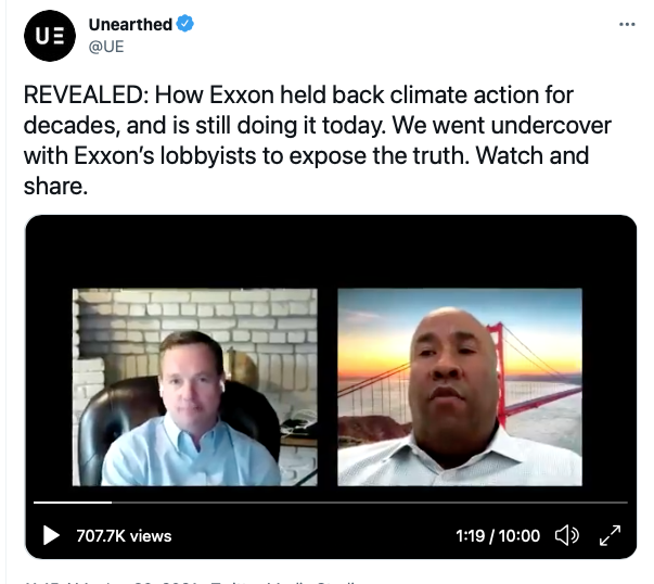 Exxon lobbyists caught saying quiet part out loud on climate obstruction